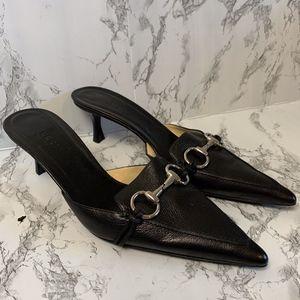 Gucci Horsebit Pointed Kitten Heel Leather Mules